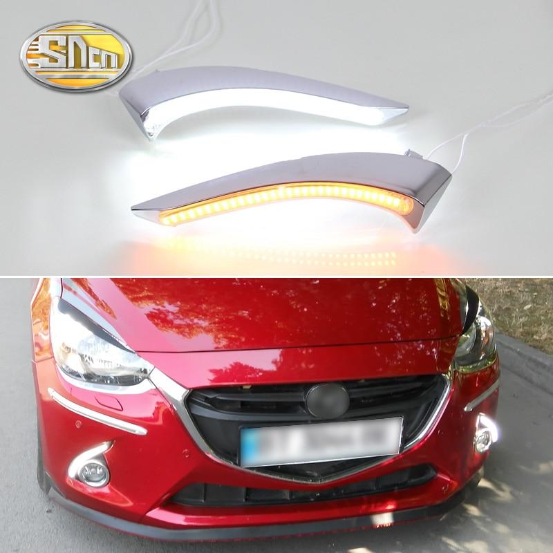 For Mazda 2 2015 2016 2017 Daytime Running Light LED DRL fog lamp Driving lights Yellow Turn Signal Lamp