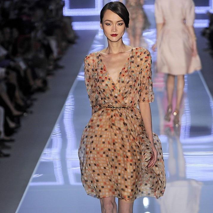2013 summer ruslana korshunova fashion one-piece dress polka dot slim short-sleeve skirt