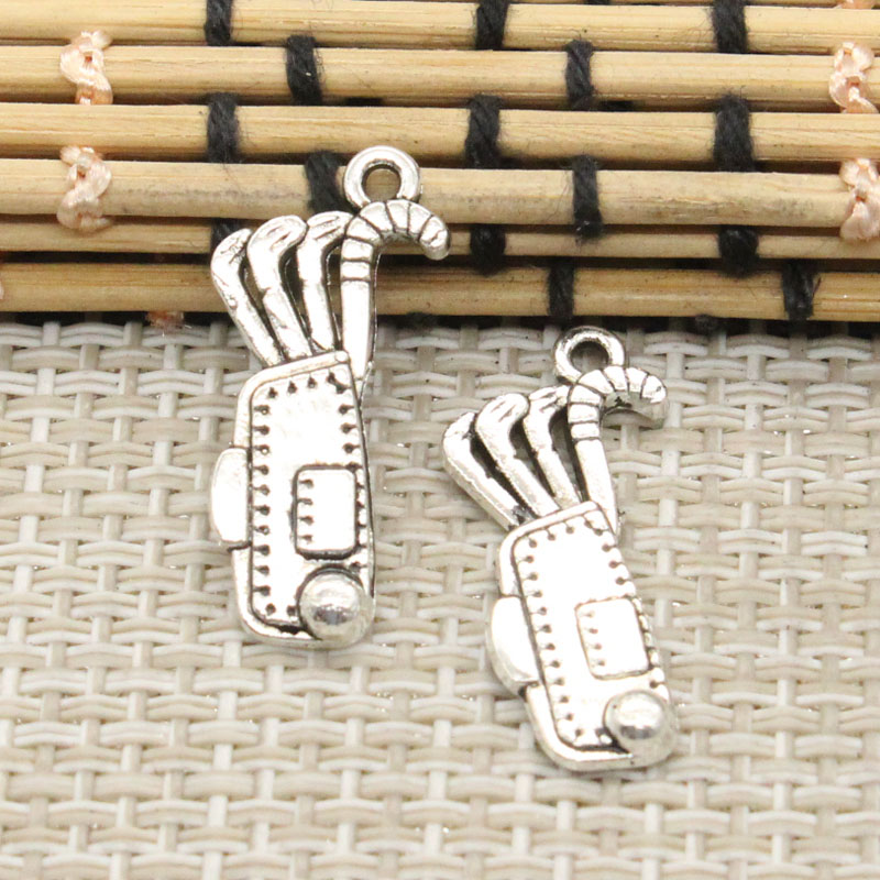 10pcs Charms golf bag clubs 25*11mm Tibetan Silver Plated Pendants Antique Jewelry Making DIY Handmade Craft