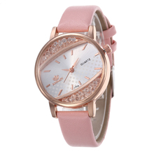 Pink Women Rhinestone Watch Luxury Leather Brand Women's Watches