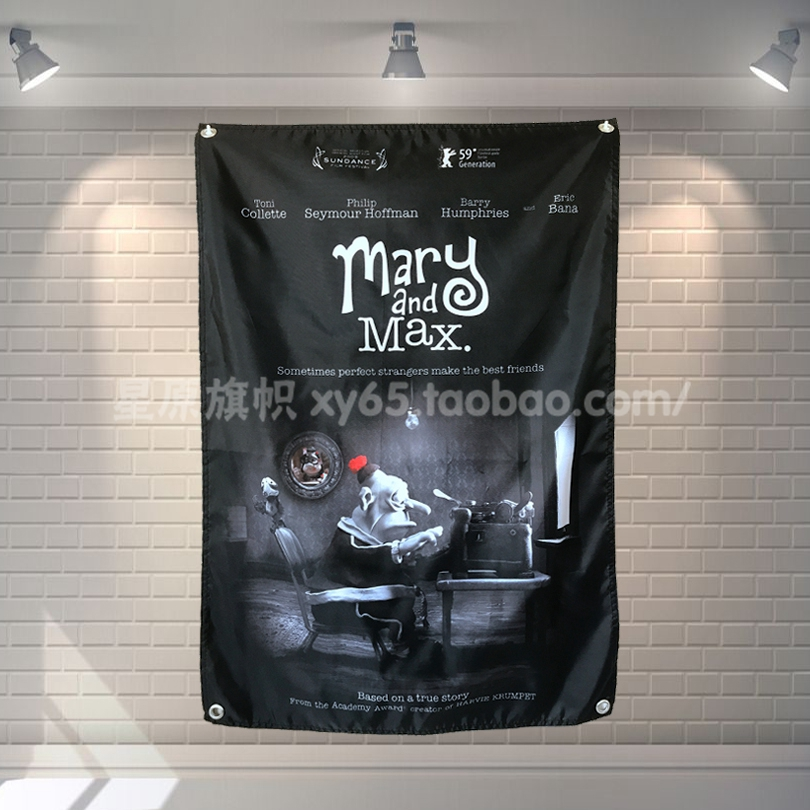 Mary And Max Movie Poster Banners Bar Cafe Hotel Theme Wall Decoration Hanging Art Waterproof Cloth Polyester Fabric Flags Flags Flags Polyester Flaghanging Flag Aliexpress