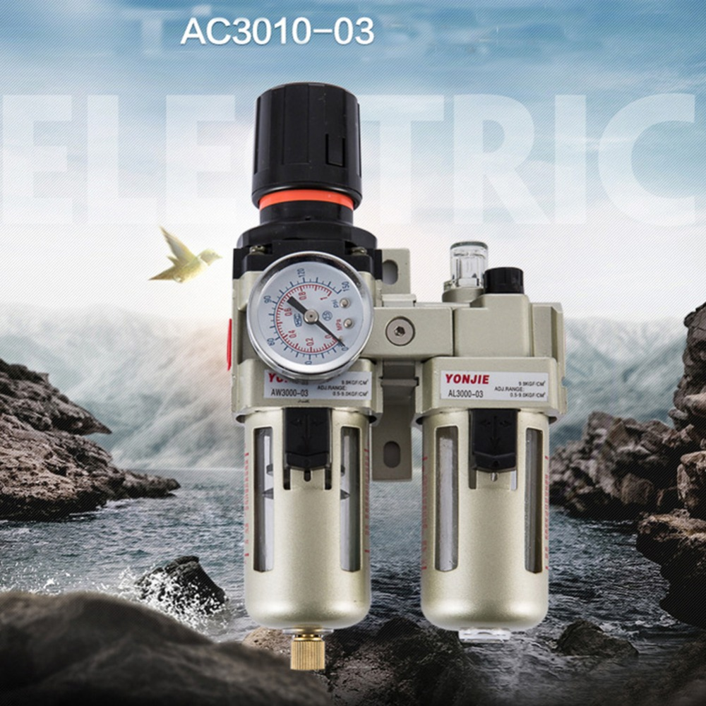 3 8 Aluminum Alloy Twin Air Filter Pressure Regulator Lubricator Gauge Kit Air Compressor Water Oil