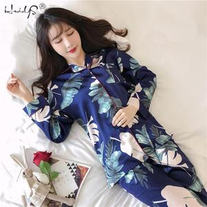 Image 2 - Plus Size M 5XL Pyjamas Autumn Winter Women Silk Satin Tops +Long Pants Pajamas Set NightSuit Female Sleepwear Sets Night Wear