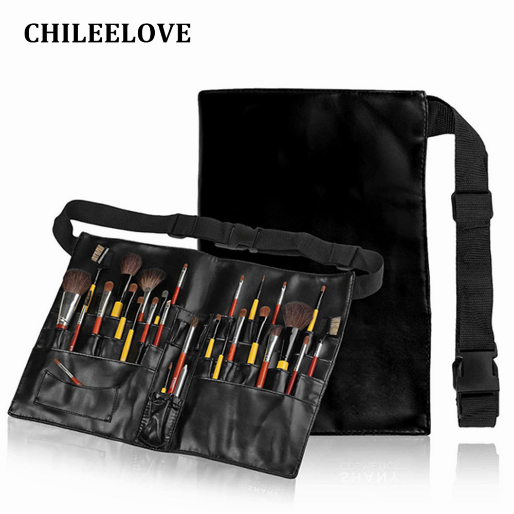 CHILEELOVE New Artist Makeup Brushes Pouch Makeup Bag Waist Brush Bag Artist Belt Strap Professional Protable Make Up Cosmetic professional cosmetic makeup brushes in a pink pu bag