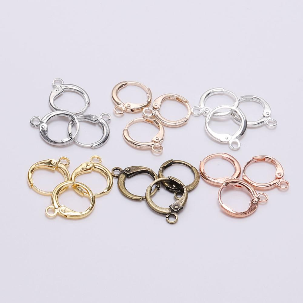 20pcs New Product 14*12mm Silver Hook Clip Earrings Clasps & Hooks Material Wire Settings Base Hoops Supplies For DIY Jewelry