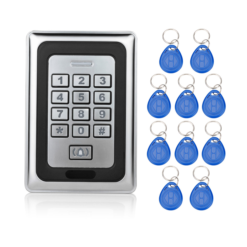 RFID Sliver Waterproof Metal Keypad Access Control System Door Locks For Security Control ID Card Reader Digital+10 key fobs-K88