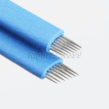 50pcs 7 pin Tattoo Needles Blue 3D Eyebrow Microblading Permanent Makeup Embroidery 7Pins Sterilized Stainless Steel Sobrancelha