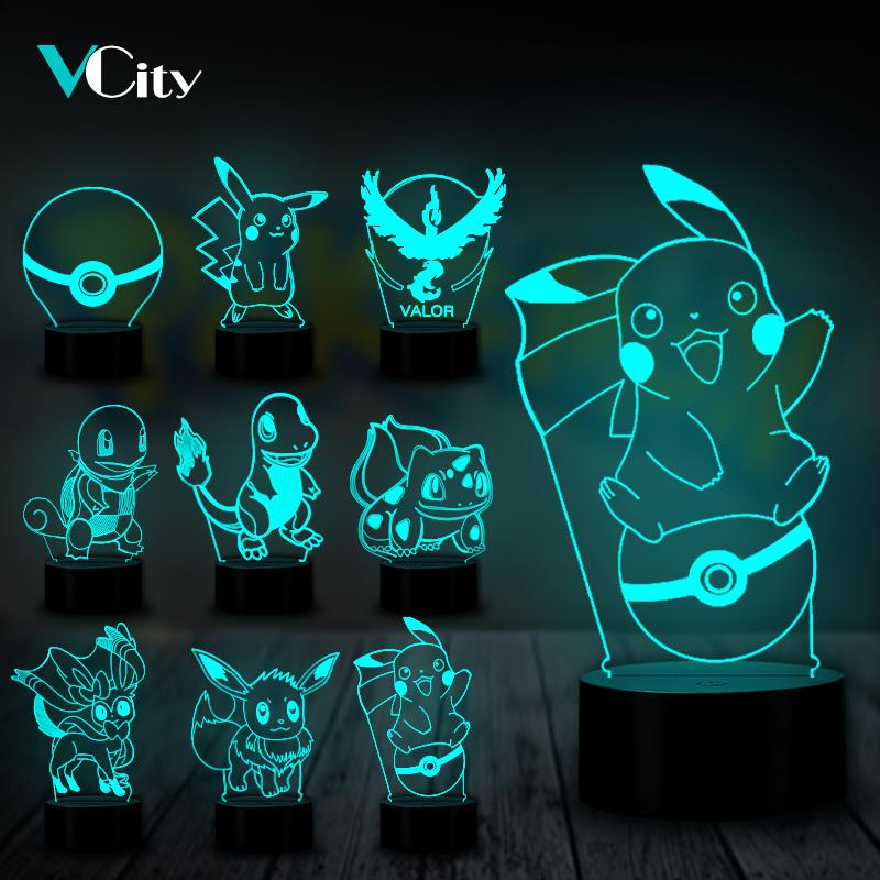 VCity 3D Night Light Table Lamp Bulb Pokemon Game Cartoon Japanese Luminaria Pikachu Bulbasaur Eeven USB LED Atmosphere Kids Toy