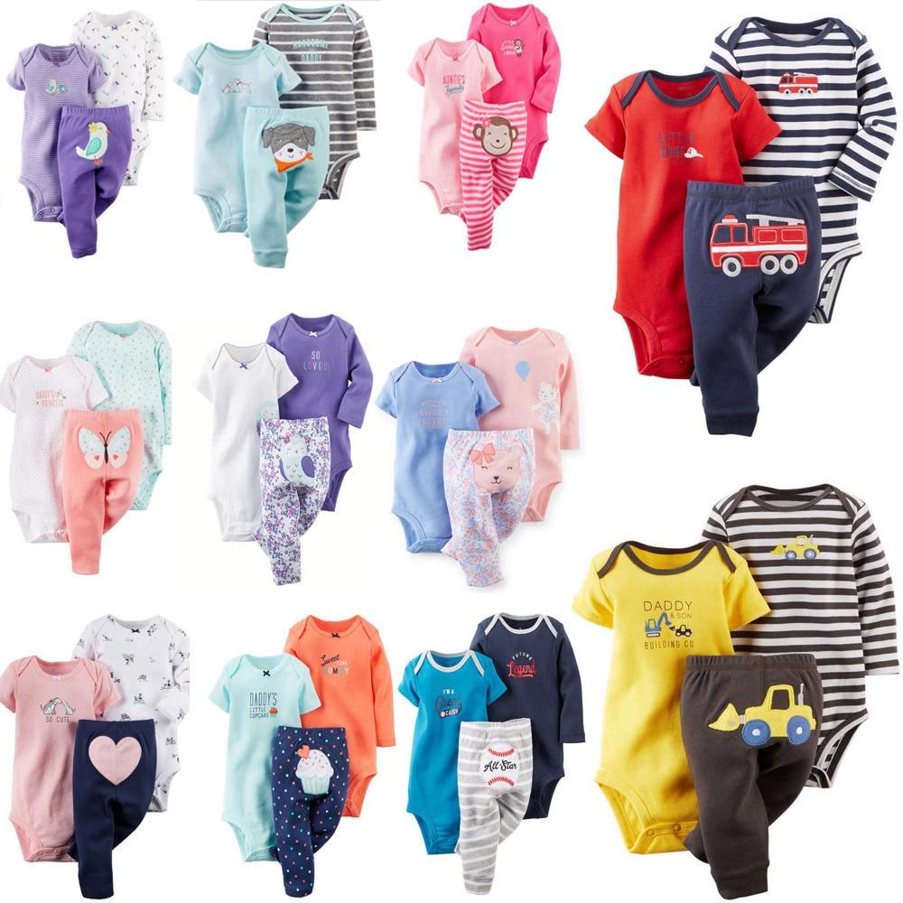 Free ship 100% Cotton 2018 bebes 6-24M set ,baby boy clothes ,baby girl clothes,newborn 3 piece ropa  boy