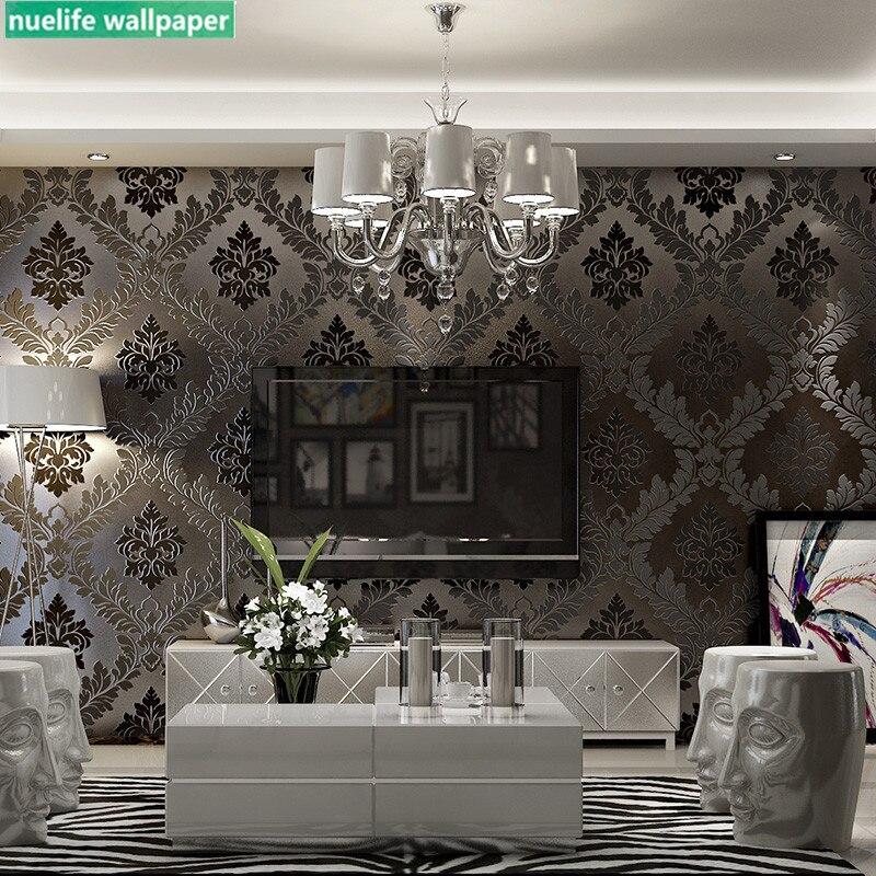 Couleur café or motif damas papier peint non-tissé salon chambre salle de mariage bar TV fond papier peint