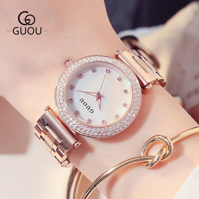 755f6e92e33c Hong Kong marca GUOU de reloj de moda brillante de diamantes de lujo de las  mujeres relojes de acero inoxidable impermeable reloj de cuarzo reloj en  Relojes ...