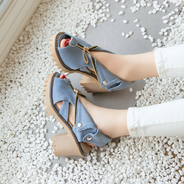 35-43 High Heels Sandals Women Summer Shoes 2017 Women Sandals Platform Canvas