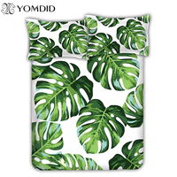 Tropical Plant Bedding Set Banana Leaves Printing Bed Cover 3 4 PCS Bed Sheet Bed Linens