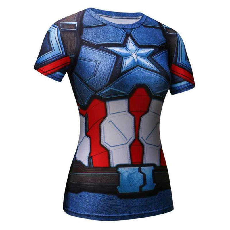 ND7 3D SuperheroBatman Captain America Women\`s Compression Shirt Compression T Shirt Female Fitness Tights Shirts Tops