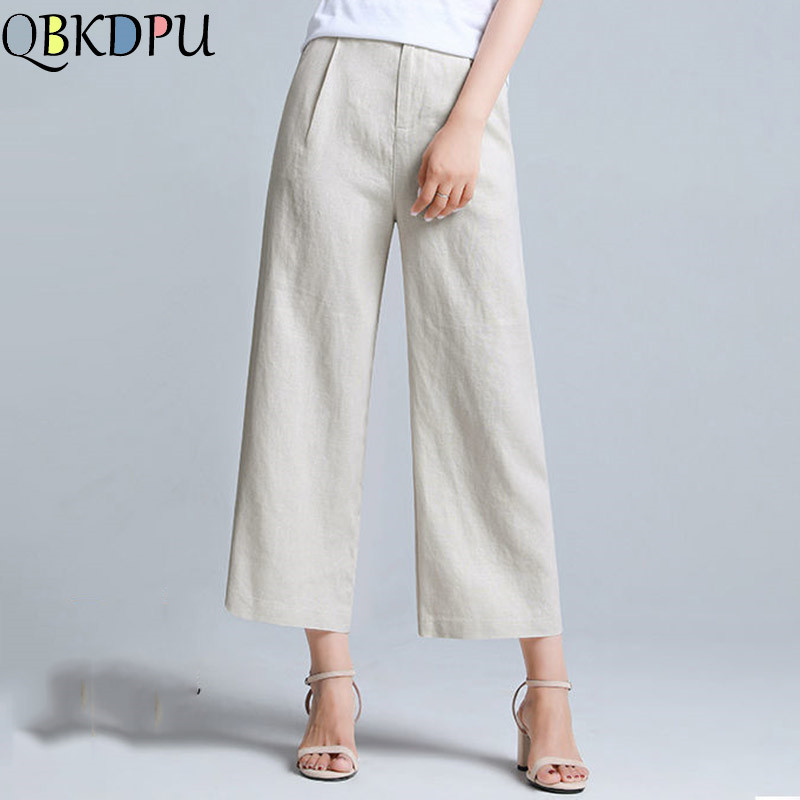 Summer Casual   Pants   Women Cotton Linen   Wide     leg     Pants   Mom High Waist Cropped trousers Female Loose Plus size white Straight   pant