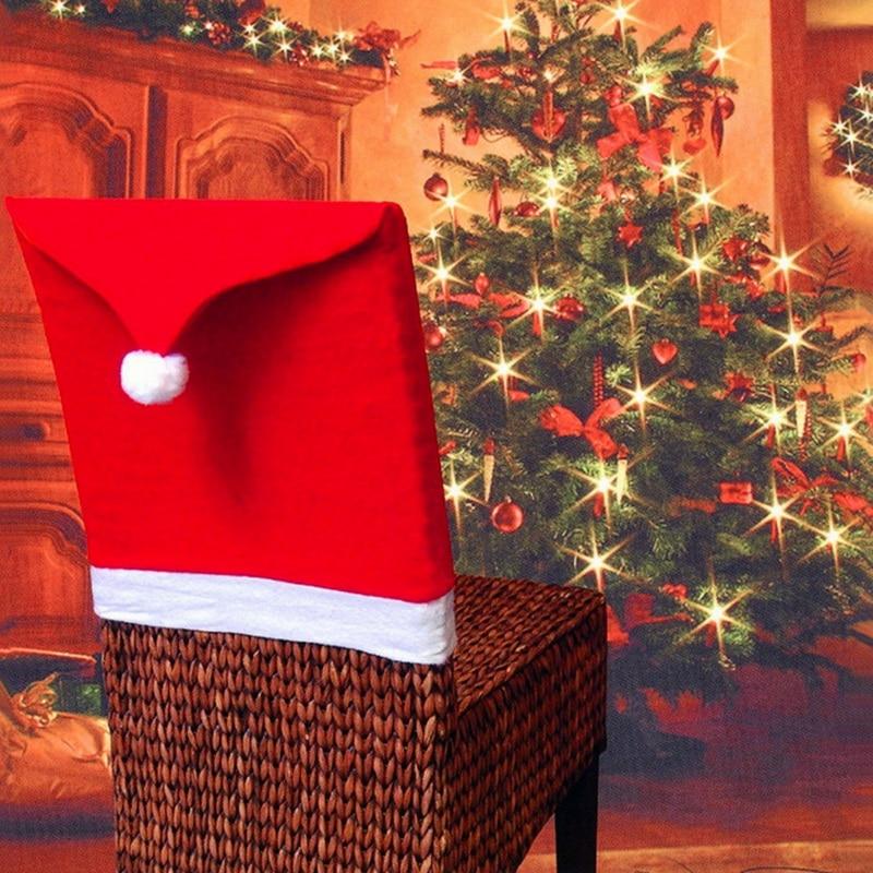 Hot Koop! mode Stoel Kerstman Rode Hoed Stoel Achterkant Kerst Diner Tafel Party Decor Voor Kerst