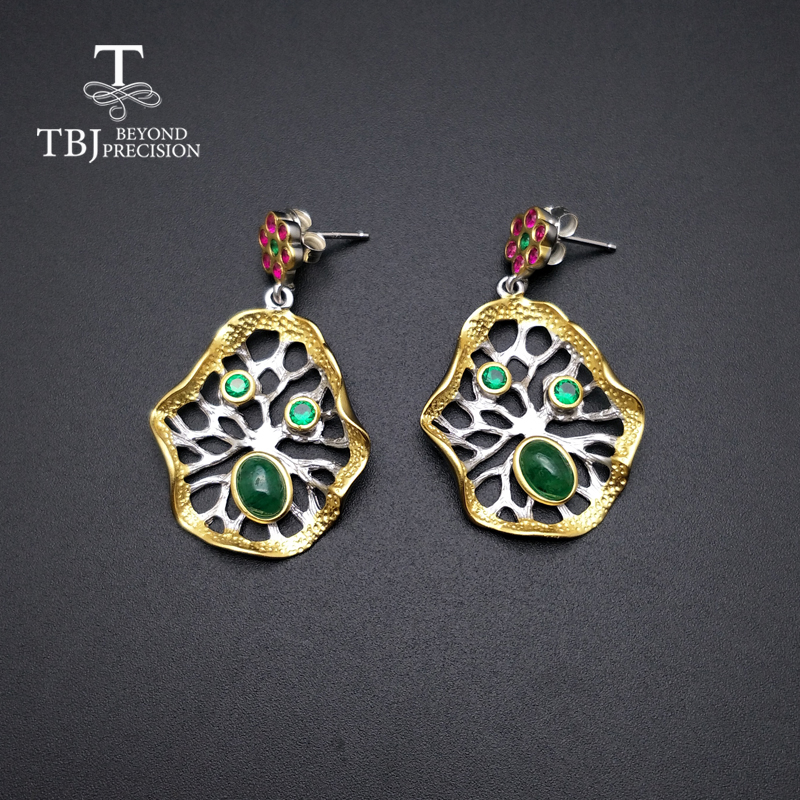 TBJ,2019 new natural emerald earrings Lotus leaf design 925 silver polychromatic elements fashion boutique jewelry for woman