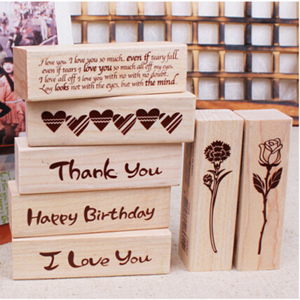 DIY New Blessing Wood Stamps I love you Happy Birthday Thank you Stamp Gift Scrapbooking Free shipping blessing and love big or retail a good gift for weddin new guaranteed 100