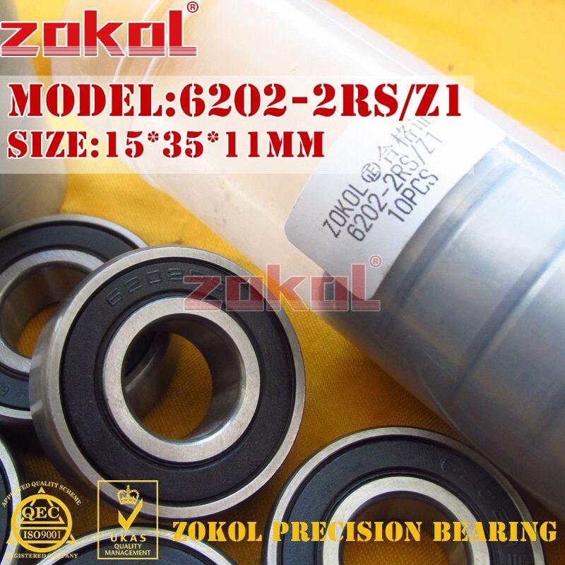 ZOKOL 6202RS bearing 6202 2RS Z1 180202 Z1 6202-2RS Z1 Deep Groove ball bearing 15*35*11mm msd1306xs z1