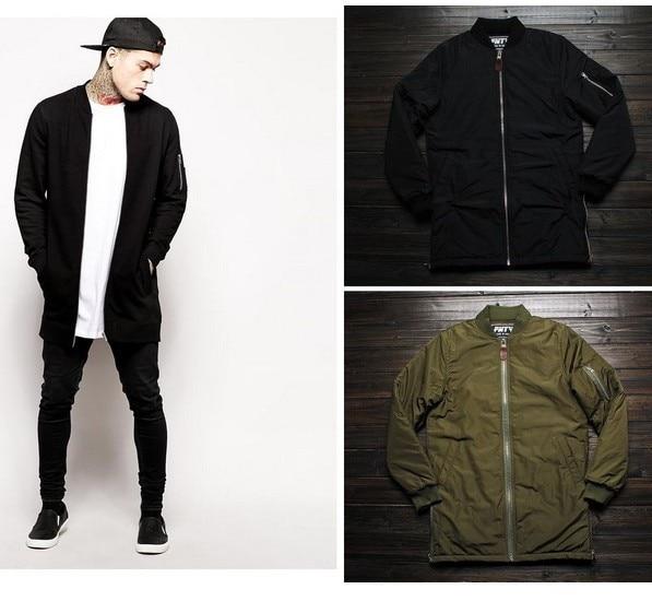 2016 Fashion Extreme Winter Coats Mens Designer Clothes Men Urban Clothing Long Flight Bomber Side Zip
