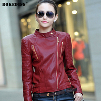 ROKEDISS 2017 Spring Autumn Women Faux Soft Leather Jacket Long Sleeve Coat Zipper Design Motorcycle PU