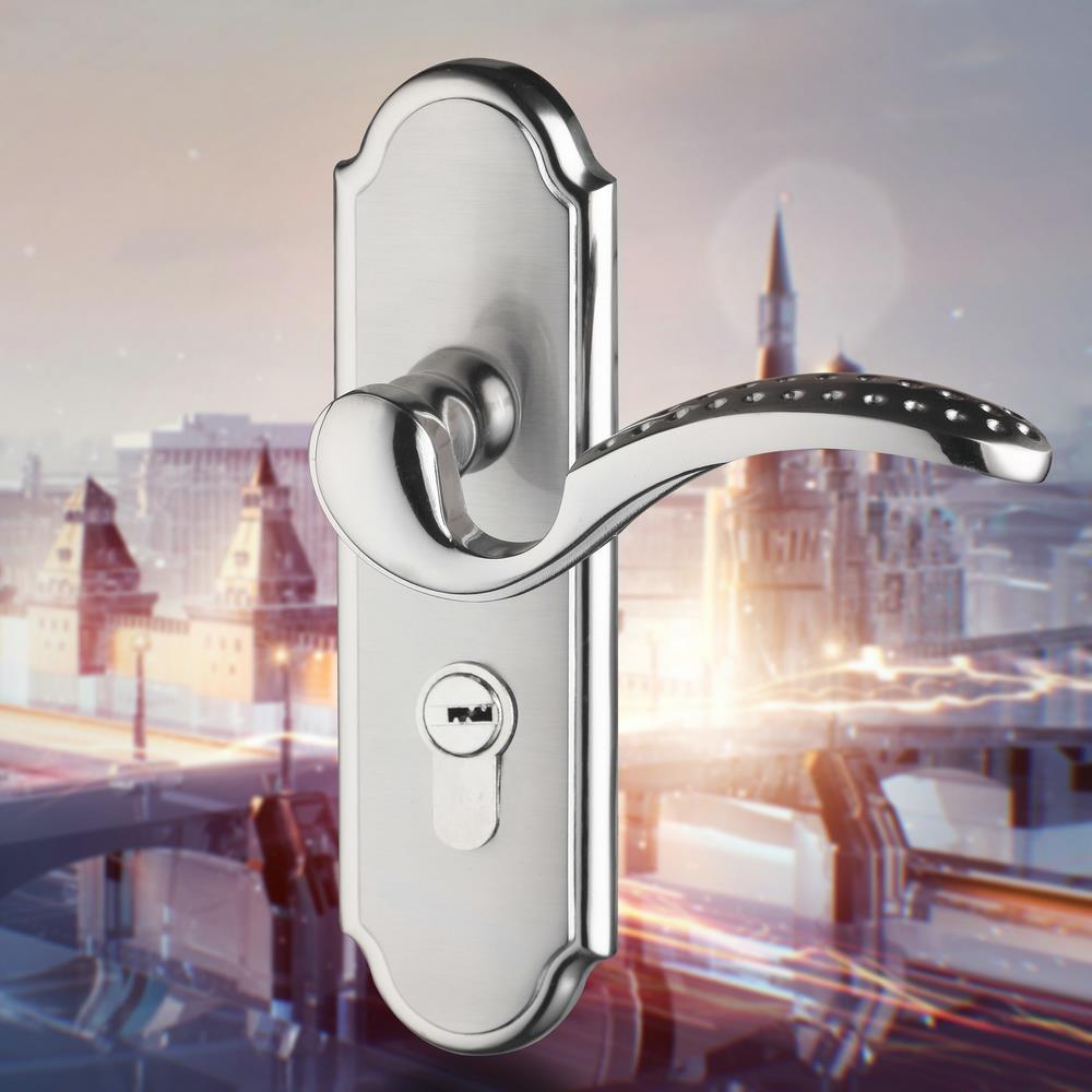 HELLO Nickel Brushed Interior Bedroom Door Locks Stainless Steel Door Locks  Handle(China (Mainland