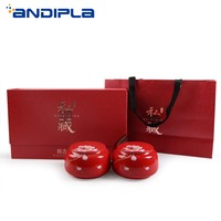 Chinese Ceramic Black Tea Cans with Gift Box Kung Fu Tea Set Accessories Puer Longjing Tea Jar Candy Beans Seal Storage Canister