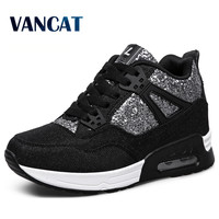 Fashion 2016 Air Wedges High Heels Thick Soled High Top Ladies Casual Single Shoes Women Lace