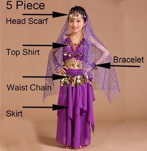 Image 2 - 5 stücke 1 set Mädchen Bauchtanz Kostüme Kinder Bauch Tanzen Mädchen Bollywood Indische Leistung Dancewear Kinder Oriental Dance