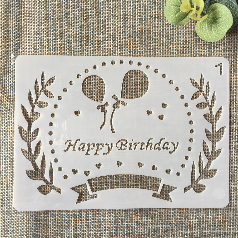 18cm Happy Birthday Balloon DIY Layering Stencils Painting Scrapbook Coloring Embossing Album Decorative Paper Card Template