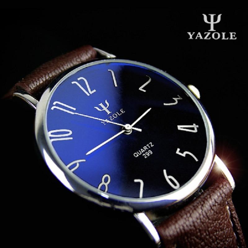 Yazole Quartz Watch Men Casual Business Leather Strap Watches Classic Ultra-thin Blue Glass Mens Quartz-watch Reloj Hombre