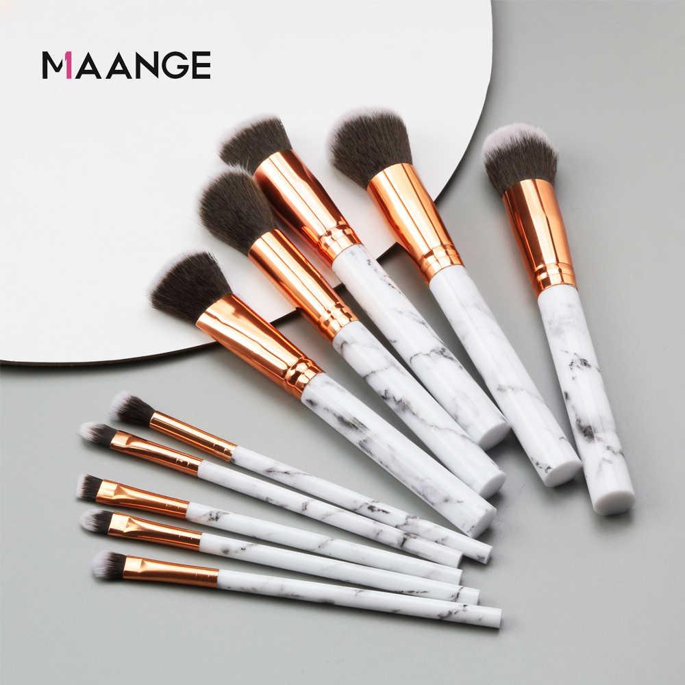 f2d4fd56b99a MAANGE Pro 10 Pcs professional makeup brush Set tools Powder Foundation  Eyeshadow Lip Eyeliner Blush Marble Face Makeup Brushes