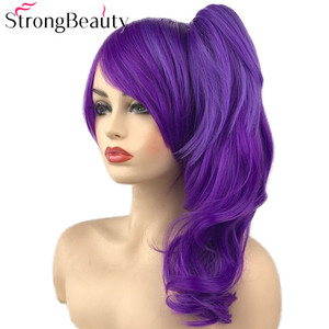 Image 4 - StrongBeauty Dark Ombre Purple Wavy Wigs with Clip Ponytail Synthetic Cosplay Wig Women Hair