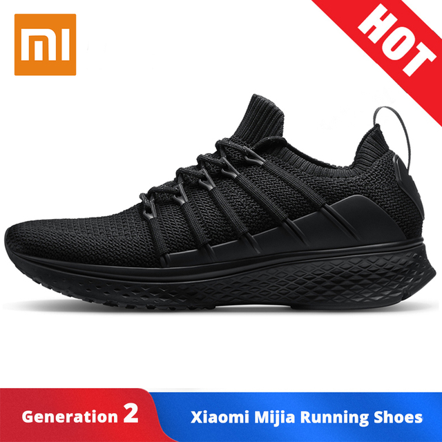Original Xiao mi mi mi jia Homens Sapatos de Corrida Inteligente 2 Desporto Ao Ar Livre Tênis de Malha Ar Respirável Ginásio Elastic Knitting vamp De Tênis