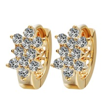QIMING New Gold Earrings Around Clear Cubic Zirconia Huggie Earrings For Women Wedding Jewelry Fashion Earings A1683