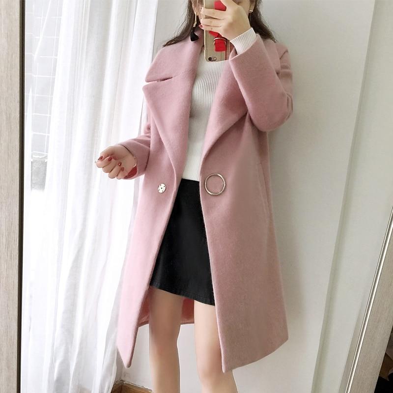 Elegant White Womens Cashmere Coat 2017 New Autumn Winter Turn-down Collar Women Wool Coat Long Slim Female Overcoat Okb211