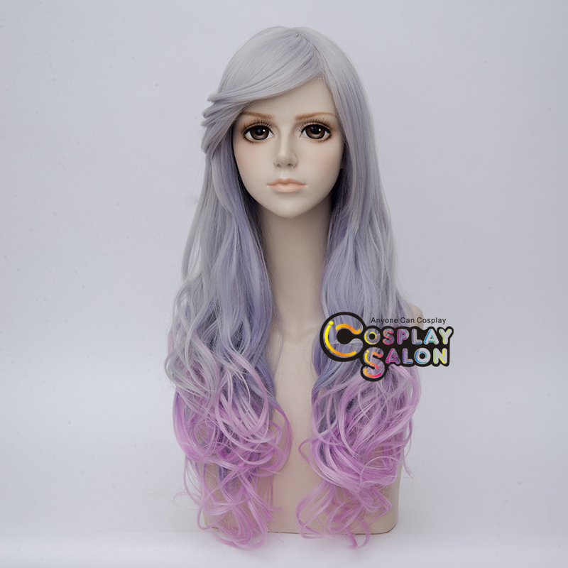 70cm Ombre Lolita Sliver Gray Amp Purple Hair Long Curly