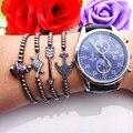 Shaojia marca dos homens pulseiras charme 4mm rodada beads anchor pulseira micro pave cz preto contas de aperto de mão, seta, Pulseira crânio