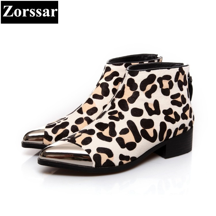 {Zorssar} 2017 NEW High Quality Genuine leather Horse hair Womens boots Casual pointed Toe ankle Boots fashion women boots shoes new 2017 spring summer women shoes pointed toe high quality brand fashion womens flats ladies plus size 41 sweet flock t179