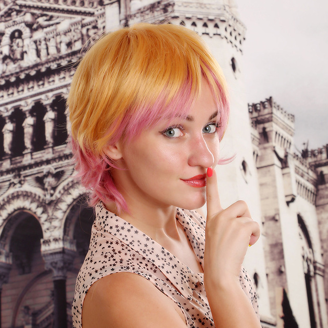 Stylish Short Straight Wig Blonde And Pink Highlights Cosplay Wig