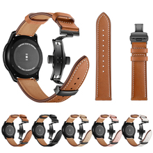 Купить с кэшбэком Leather strap for Samsung Galaxy watch 46mm Gear S3 Frontier/Classic 22mm band butterfly buckle smart watch accessories bracelet