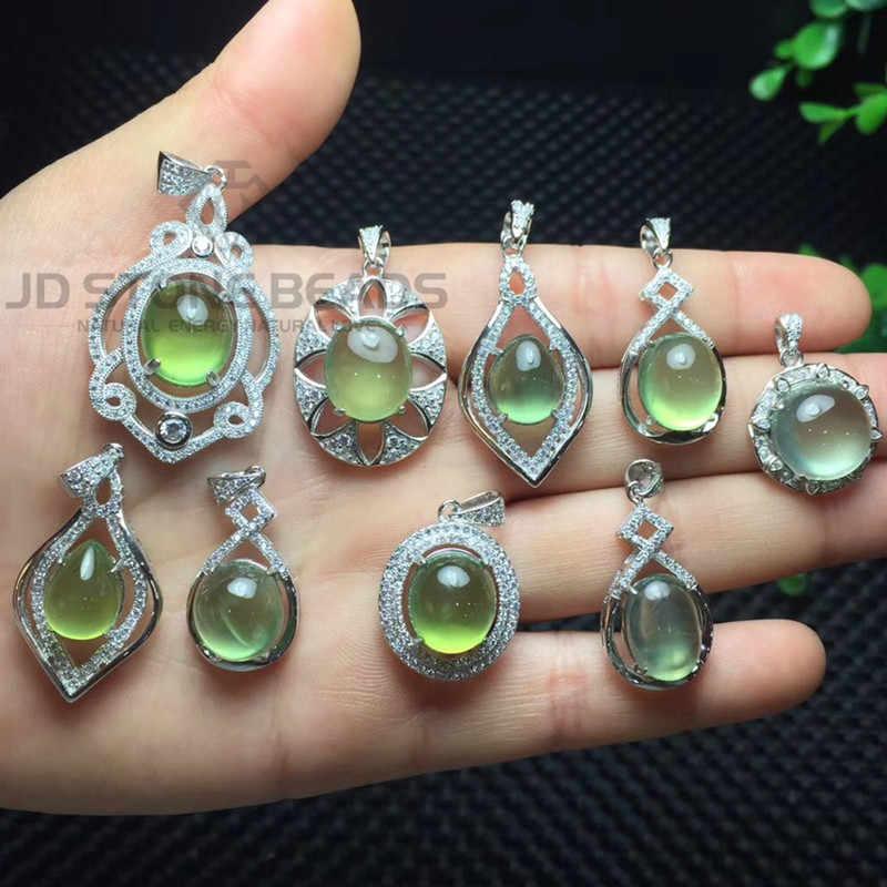 Plata 925 collar de joyería colgante de piedras preciosas naturales de cuarzo forma de gota redonda piedra larimar lapisate colgante de joyería de curación