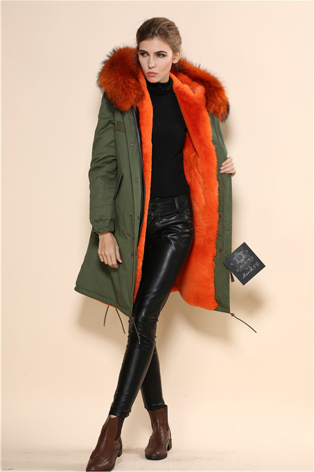 2016 winter dress women fur coat cotton shell army green orange ...