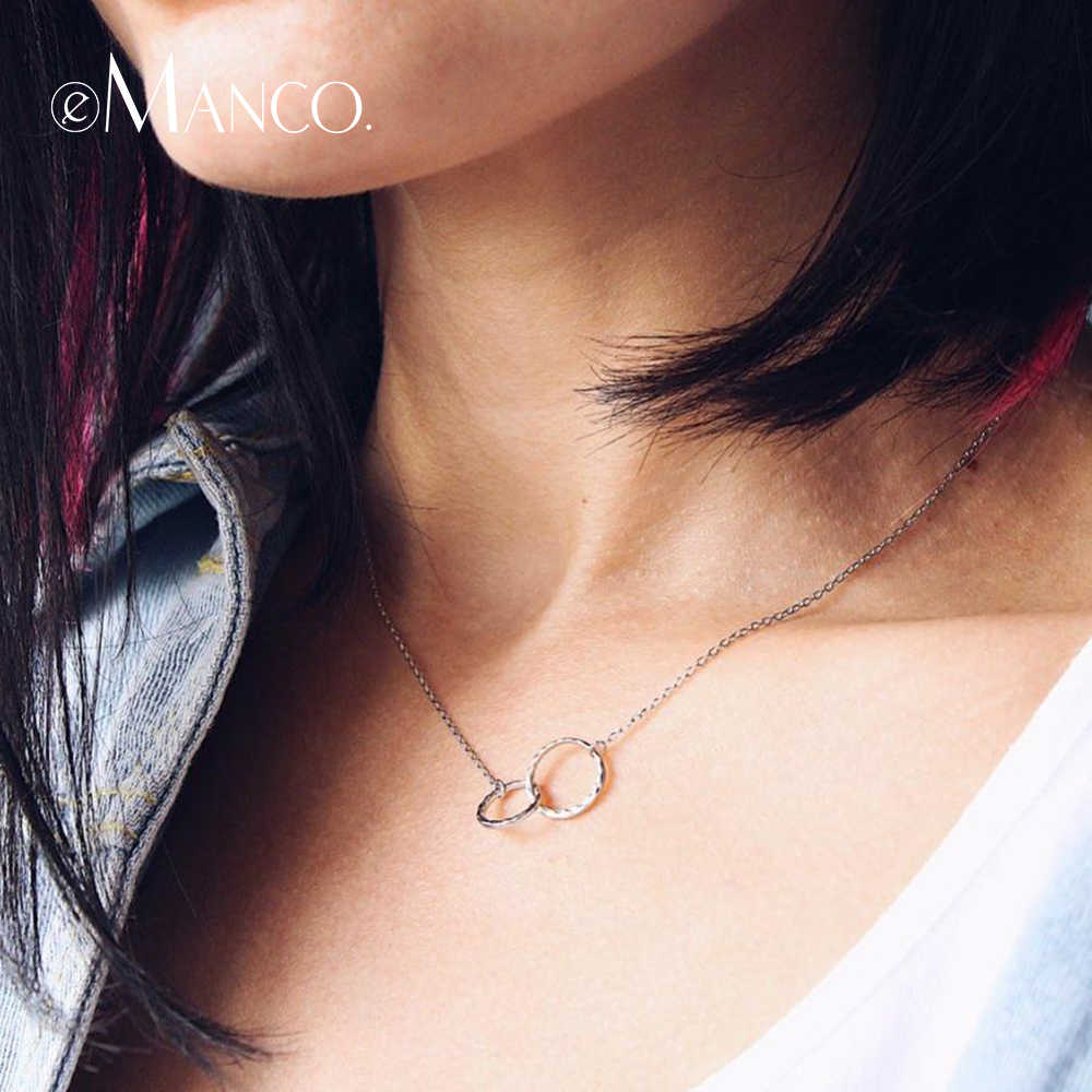 eManco Double Circle Interlock Clavicle Short Necklace 925 Sterling Silver Necklace For Women Bohemian Infinity Necklaces