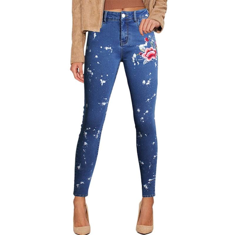 Ženy růže výšivky džíny s vysokým pasem plus velikosti těsné tužky modré džínové kalhoty hubená ležérní módní džíny pro dívky