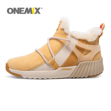 Original Newest ONEMIX Winter Woman Warm Wool Snow Boots Jogging Running Shoes for Women Comfortable Athletic Sneakers Free Ship