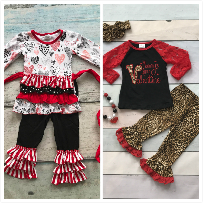 Cotton V Day Boutique Baby Girls Kids Outfits Mommyu0027s Little Valentine  Clothing Ruffles Leopard Heart