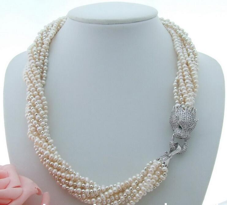 beautiful 20 7 row White Pearl Necklacebeautiful 20 7 row White Pearl Necklace