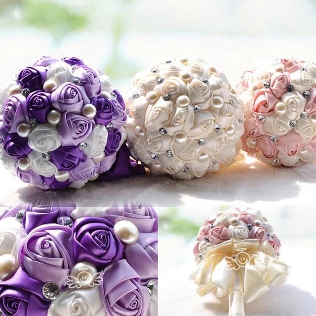 Elegant Cream/Purple/Cream Bridal Wedding Bouquet Holders Wedding ...