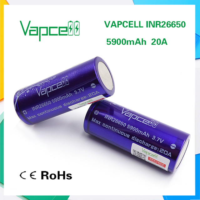 Vapcell Purple Inr 26650 Battery 3 7v 5900mah 20a Continuous